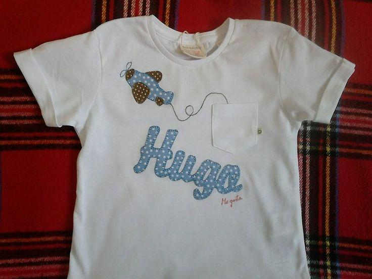 "Camiseta realizada en patchwork para niño. Camisetas decoradas ""ME GUSTA"" Facebook"