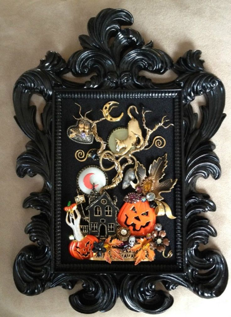Vintage Rhinestone Jewelry Framed Halloween Pin Tree Art Cat Pumpkin Owl | eBay