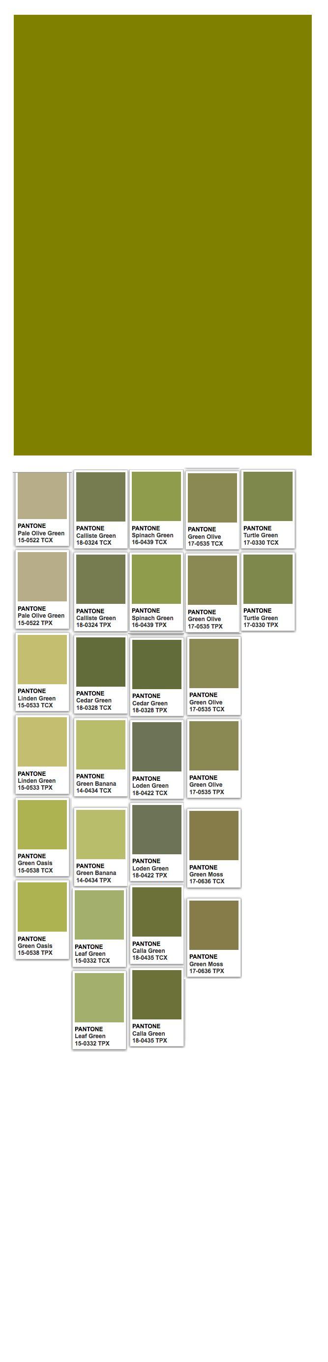 Olive (web) and Pantone colors