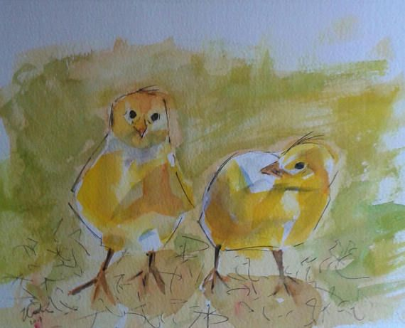 Baby Chicks  original pen and watercolour painting by Vicky