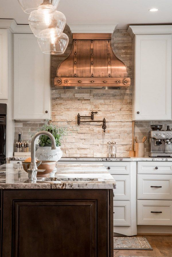 Unique Kitchen Interior Design White Cabinets Copper Hood Stone Backsplash Wood Flooring