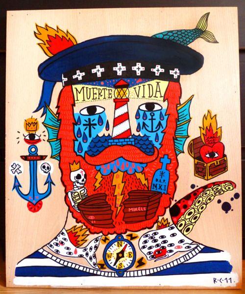 Este tío (Ricado Cavolo) tiene dibujos brutales, coloridos, magníficos.