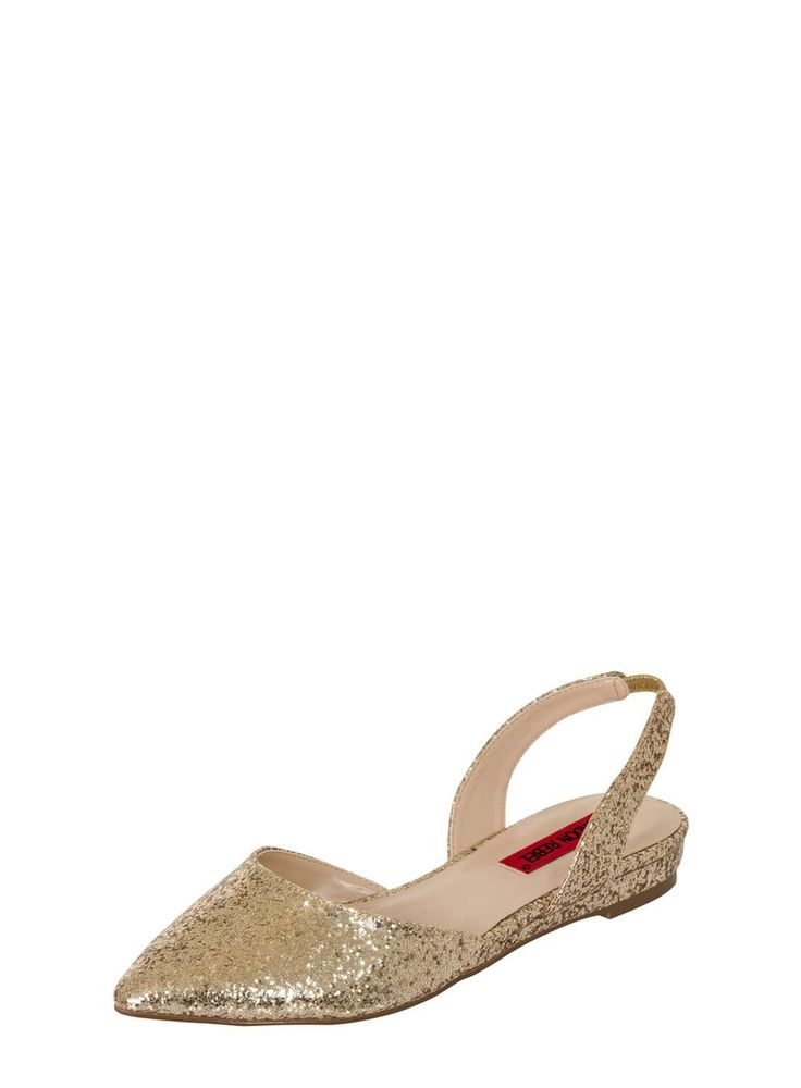 Womens *London Rebel Gold Glitter Slingback Shoes- Gold