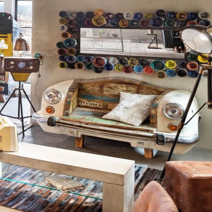 Recycled paint pot mirrors, upcycled engineering modern art. These vintage mirrors are the most funky retro design wall mirrors you can buy on the planet.