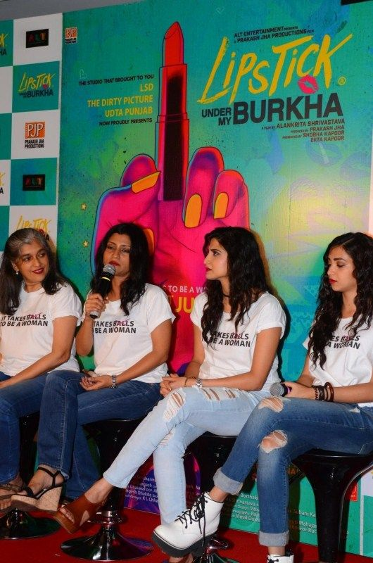 "Actors Konkona Sensharma, Ratna Pathak Shah, Aahana Kumra and Plabita Borthakur during the trailer launch of upcoming film ""Lipstick Under My Burkha"", in Mumbai on June 27, 2017."