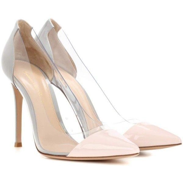 Gianvito Rossi Plexi Patent Leather and Transparent Pumps found on Polyvore featuring shoes, pumps, heels, grey, gray pumps, patent leather shoes, plexi pumps, grey pumps and see-through shoes