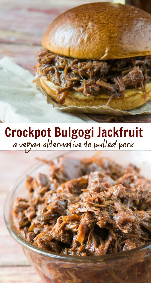 Slow Cooker Bulgogi Jackfruit. A perfect meat-free alternative to pulled pork. Serve it on tacos, nachos, or even on a sandwich!