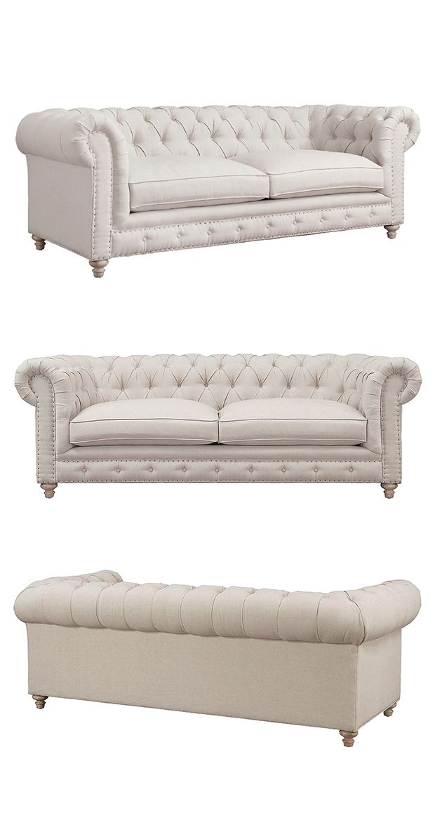 Elevating the venerable Chesterfield-style sofa to the next level, our Regency Linen Tufted Sofa is supported by a solid wood frame and reclaimed oak legs. Fine linen upholstery, hand-hammered copper n...  Find the Regency Linen Tufted Sofa, as seen in the A Magical Victorian Night Collection at http://dotandbo.com/collections/a-magical-victorian-night?utm_source=pinterest&utm_medium=organic&db_sku=116859