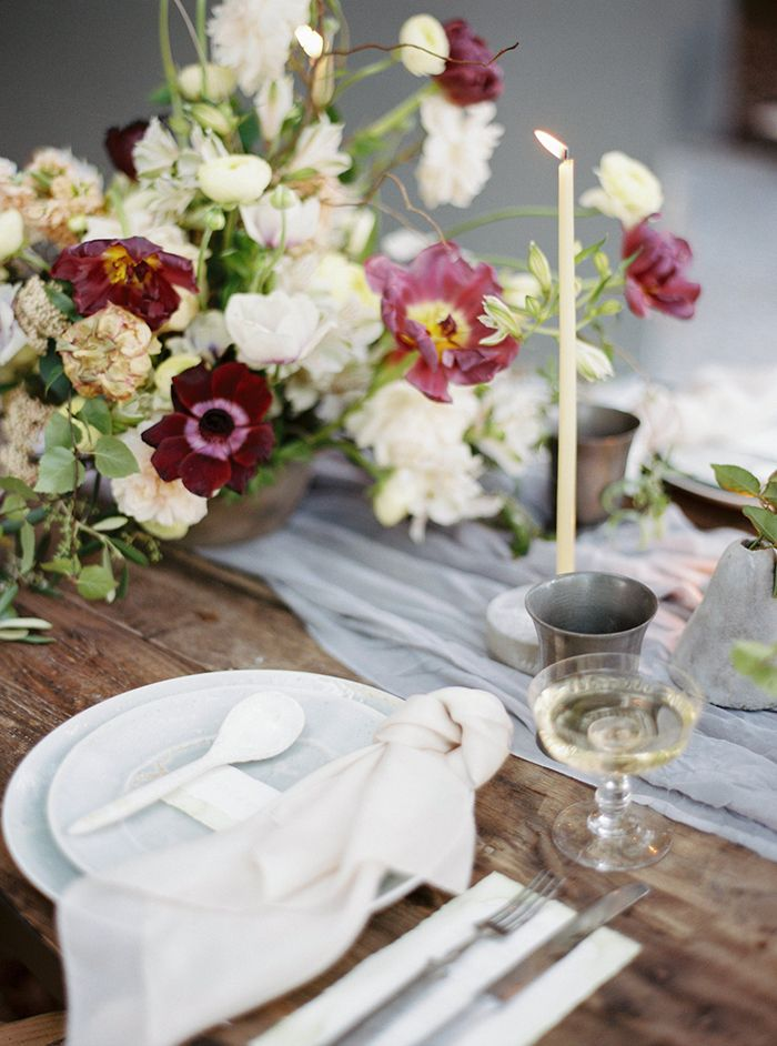 Farm Table with Organic Pottery and Plum Colored Fall Flowers