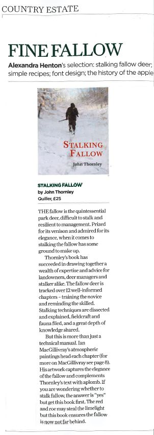 The Field review Stalking Fallow by John Thornley in their October 2016 issue #fallow #stalkingfallow #deer