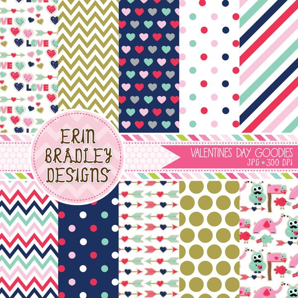 Valentines Day Goodies Digital Paper Pack Personal & Commercial Use Instant Download