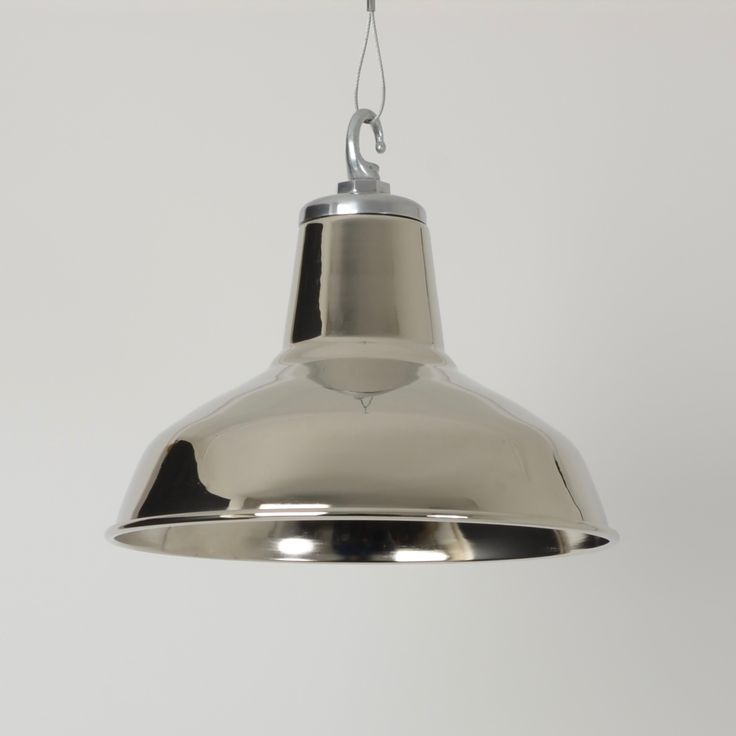 Beautiful Vintage Industrial Lighting Pendant Shade With Nickel Plated Finish.  Trainspotters.co.uk