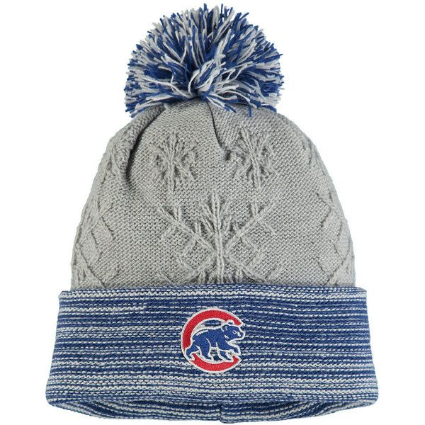 Chicago Cubs Youth Gray Snow Crown Redux Cuffed Knit Hat  #ChicagoCubs #Cubs #FlyTheW SportsWorldChicago.com