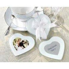 Heart Shape Glass Photo Coaster Favour