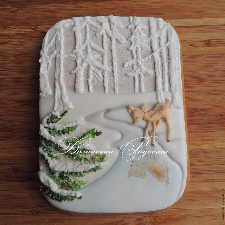 """Купить Новогодняя открытка """"Зимний лес"""" - белый, Новый Год, открытка, новогодний, ручная работа"""