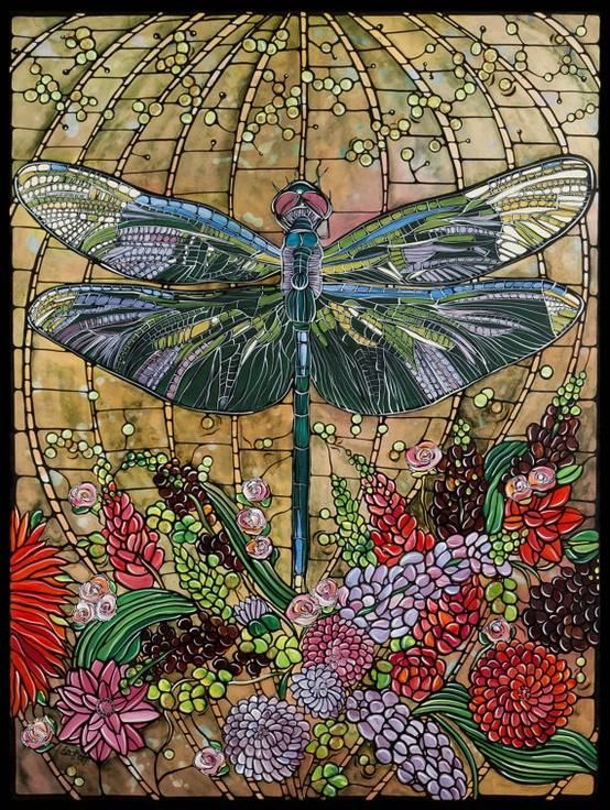 Dragonfly Art Nouveau Stained Glass.This must have taken forever to finish.
