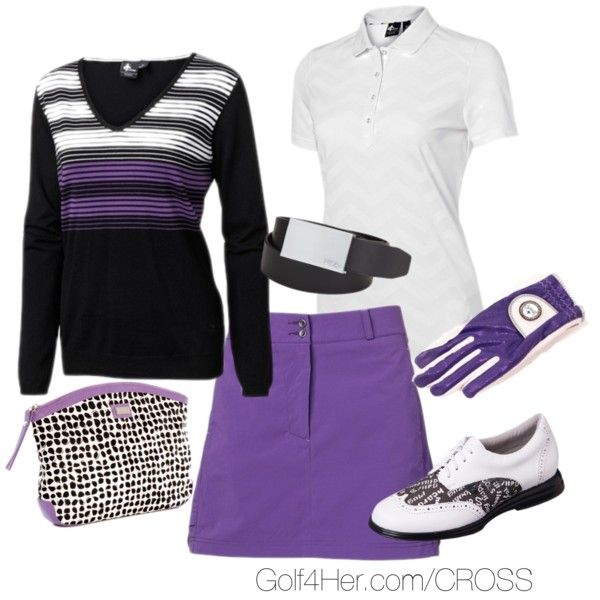 Amethyst & Black by golf4her on Polyvore featuring Fila, AME, stripe, white, sweater, golf, cosmetic and purple skirt