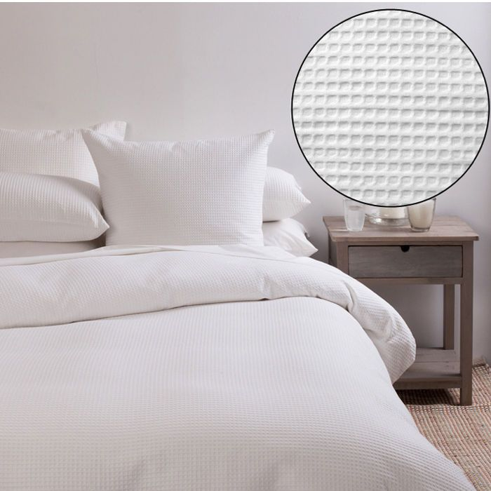 100% COTTON WHITE WAFFLE SUMMER LUXURIOUS QUILT DOONA COVER SET DOUBLE SIZE