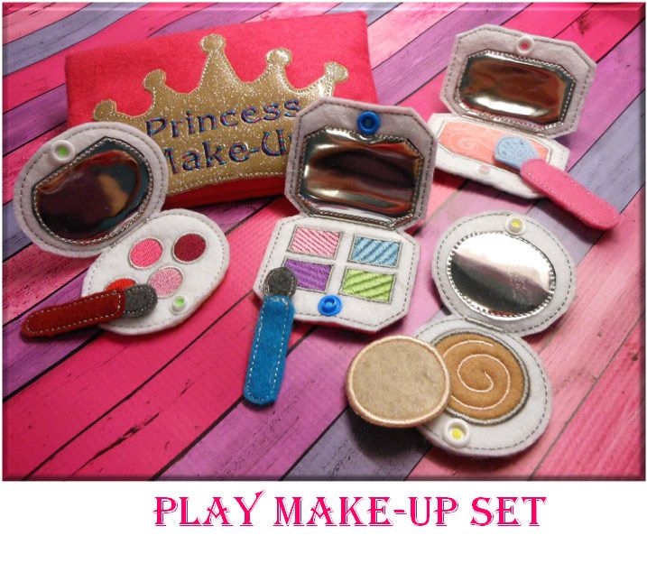 In the Hoop Princess Play Make Up Embroidery Machine Design Set - Newfound Applique