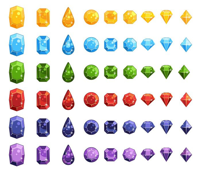 Gems Pack contains:  1. Fifty four gems (9 types of gems of 6 colors). You can find them in a source file (format: SVG, EPS). 2. Preview image of the pack with white background (format: PNG, size: 700x600px) 3. Readme.txt file