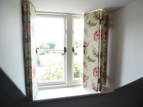 fabric covered shutters for dormer window  Anything cottage  Dormer windows Bedroom shutters