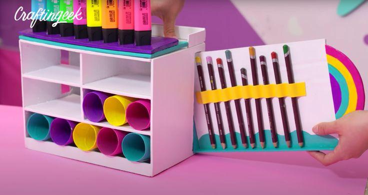 Organizador de escritorio de carton: Arcoiris — Craftingeek Art Supplies, Cube, Origami, Crafts, Diy, Memes, Videos, Pranks, Adult Crafts