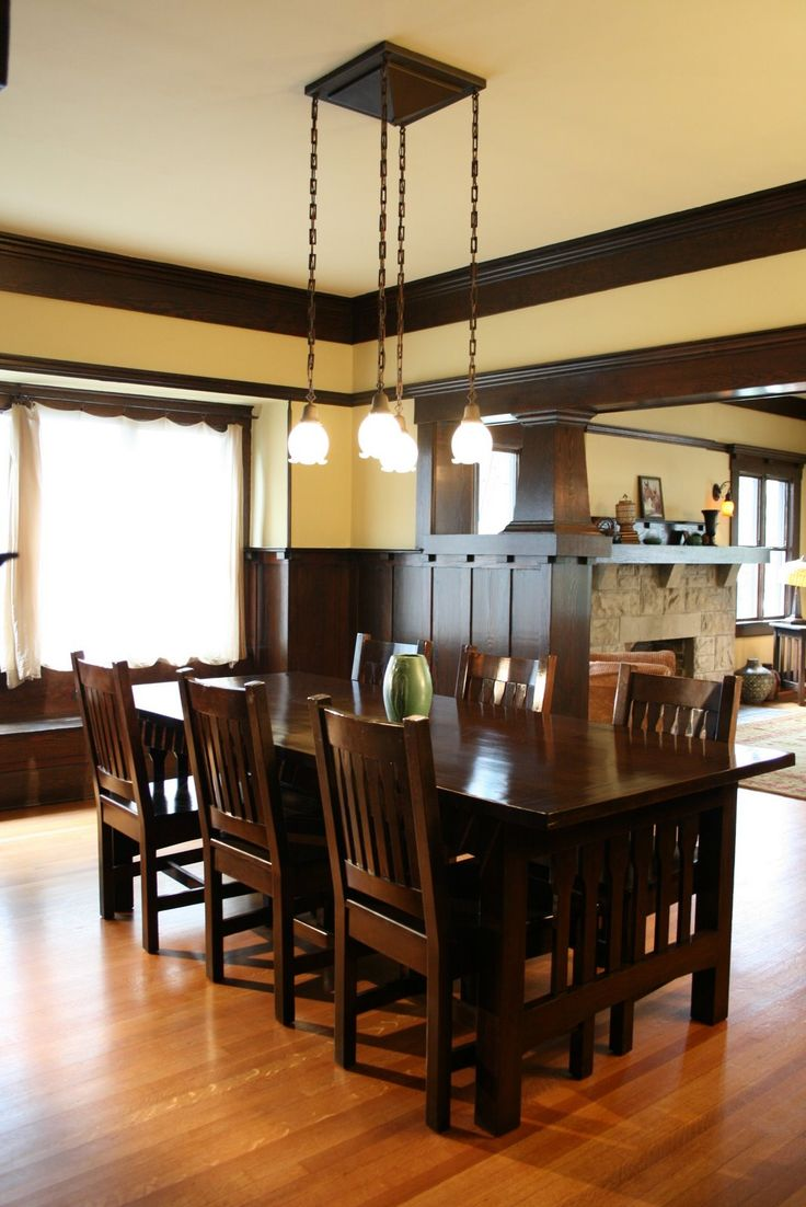Dining room with wainscoting and ceiling beams – 1908 Craftsman Bungalow, 2361 W. 20th St.