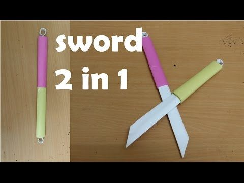 How to make a Double Paper Sword - (Two in One ) - Mini Weapon (crazyPT's Design) - YouTube