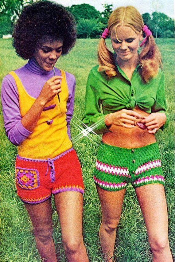 Crochet Shorts Pattern - PDF Instant Download - HIPPIE Pants - Gym Shorts - Digital Pattern - Workout Shorts - Hip Hugger Hot Pants in 2020 | 70s fashion, Fashion, Retro fashion
