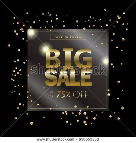 Big Sale luxury background with gold confetti, sparkles and lights. Vector illustration. Black Friday banner. Transparent effect. Holiday sale discount voucher, gift card, label template.