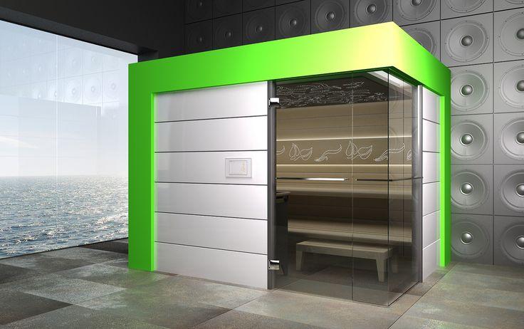 Sauna Best Line z portalem w kolorze limonki - wizualizacja #sauna #sauny #design