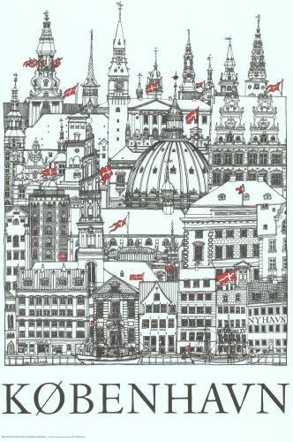 Copenhagen - The City's towers - by artist Jacob Sneum, 1977