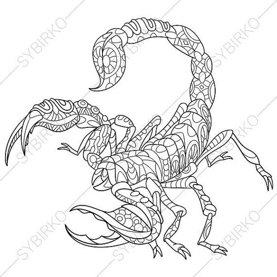 Scorpio Coloring Page. Adult coloring book by ColoringPageExpress