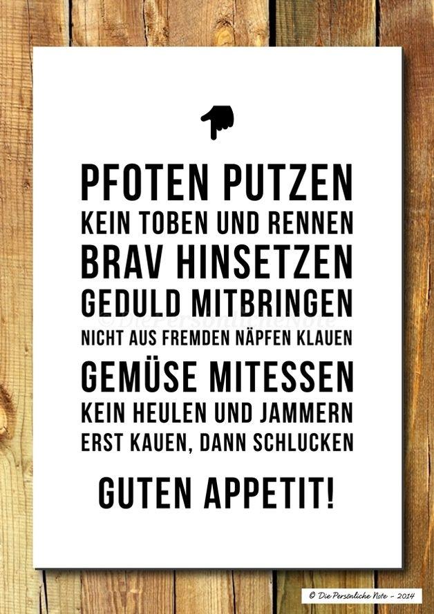 Da habt ihr's Schwarz auf Weiß, liebe Küchengäste: Ob Kinder, Hunde oder Ehemänner – mit ein paar einfachen Regeln kriegt man Ordnung ins Küchenchaos. - Druck/Wandbild/Print: Hausregeln für die Küche