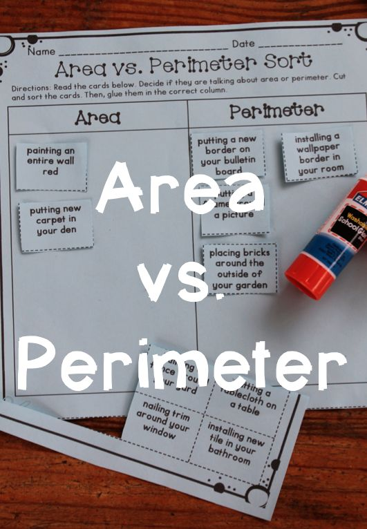 Area and Perimeter Ideas - Area and perimeter sort that focuses on real life scenarios