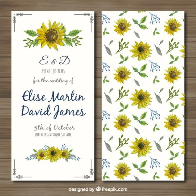 Wedding invitation with hand painted sunflowers Free Vector