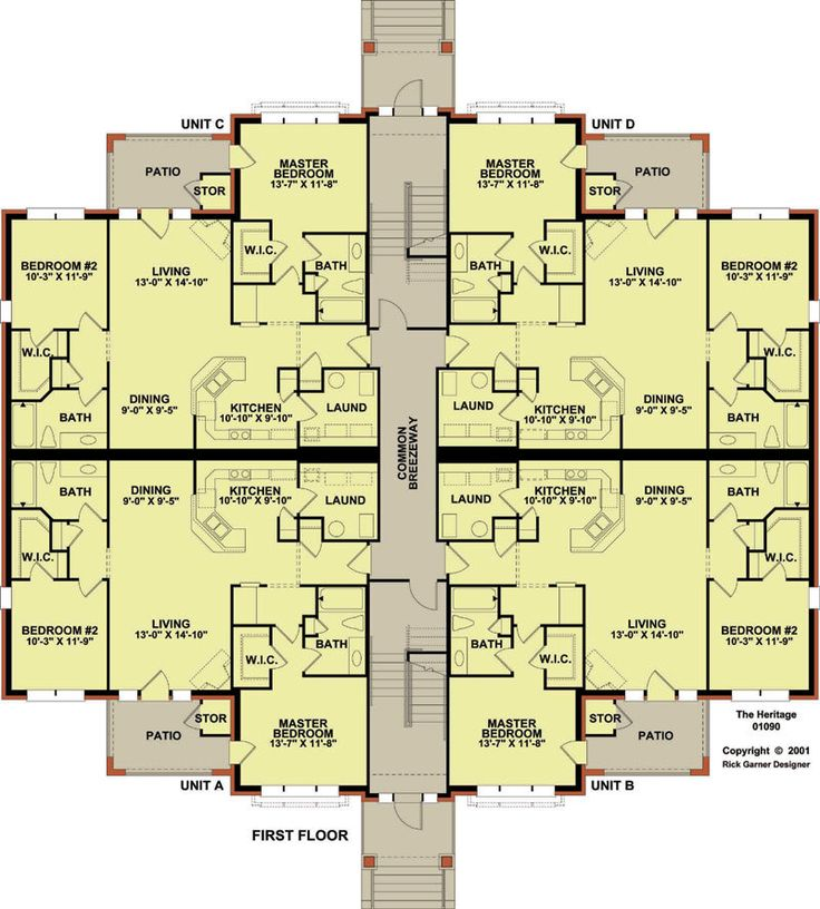 12 plex 1 floor plan apartment house plan ideas for 4 unit condo plans