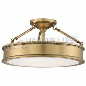 $179.99 Simple Brass Acrylic Shade Semi Flush Ceiling Light For Bedroom