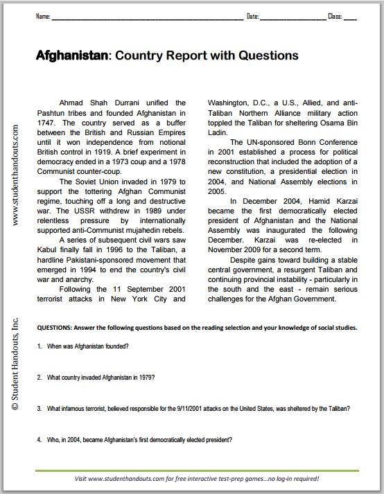 Afghanistan Country Report With Questions Great For High