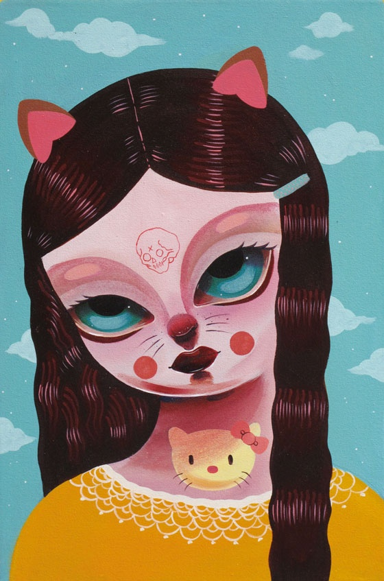 Kitty Girl by Motelseven - Motelseven is a South African born Norwegian, who has been painting graffiti for over 10 years. She has travelled all around the world, from painting at bgirlbe in Minneapolis, Write for Gold in Cape Town, to painting at festivals such as Roskilde.