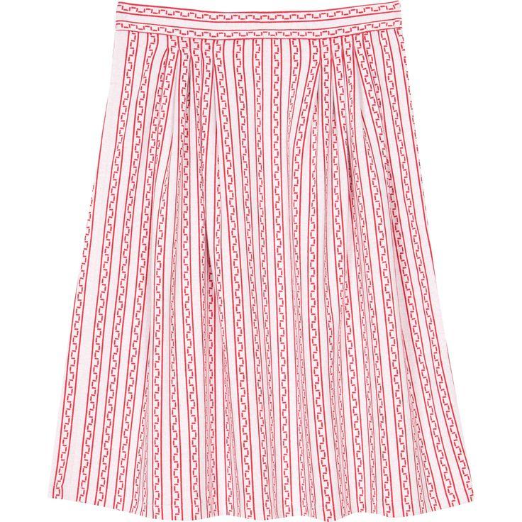 jupe filipine graphique La jupe Filipine propose un motif graphique rosé très estival. Conçue en maille, sa ligne évasée par un jeu de plis lui apporte volume et légèreté.