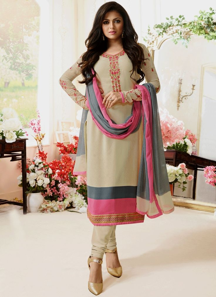 Buy stylish and trendy bollywood salwar kameez, from our wide range of salwar suits online. Grab this Drashti Dhami faux crepe churidar designer suit for party and festival.