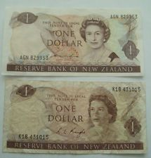 New Zealand  Banknotes lot of 2 Bank Notes of 1 Dollar Paper Money Circulated F