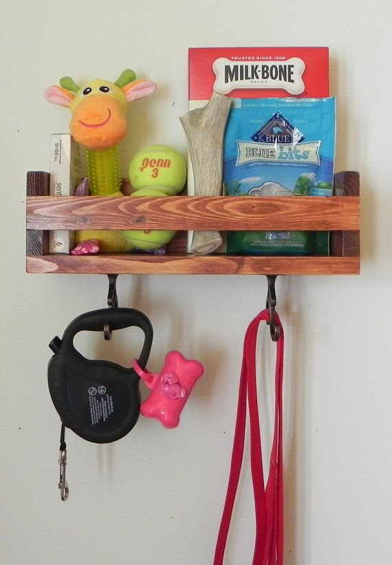 Perfect for storing all of your pets treats, toys, medication, dog sweaters, and leashes all in one place. We created this custom design because we were always misplacing leashes after walks and treats that get lost in the back of the pantry. We also wanted to create something thats more than just functional and aesthetically pleasing. This elegant shelf is clean and has a simple design that fits perfectly with any home decor. Its small compact design makes it perfect for hanging next to any…