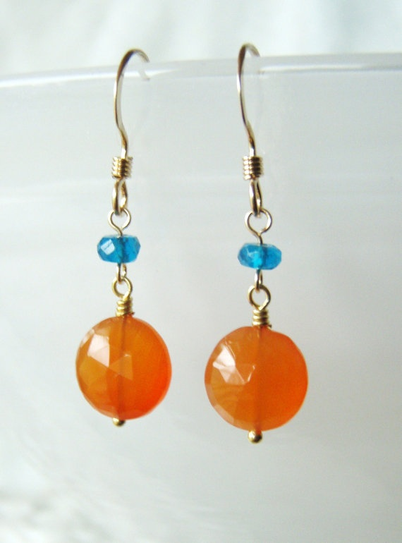 Carnelian earrings with peacock apatite gold by oneoffcreations, $18.00