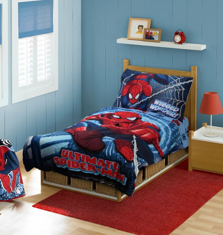 spiderman toddler bedding set comforter flat sheet fitted sheet and pillow case bedroom boysbedroom decorbedroom