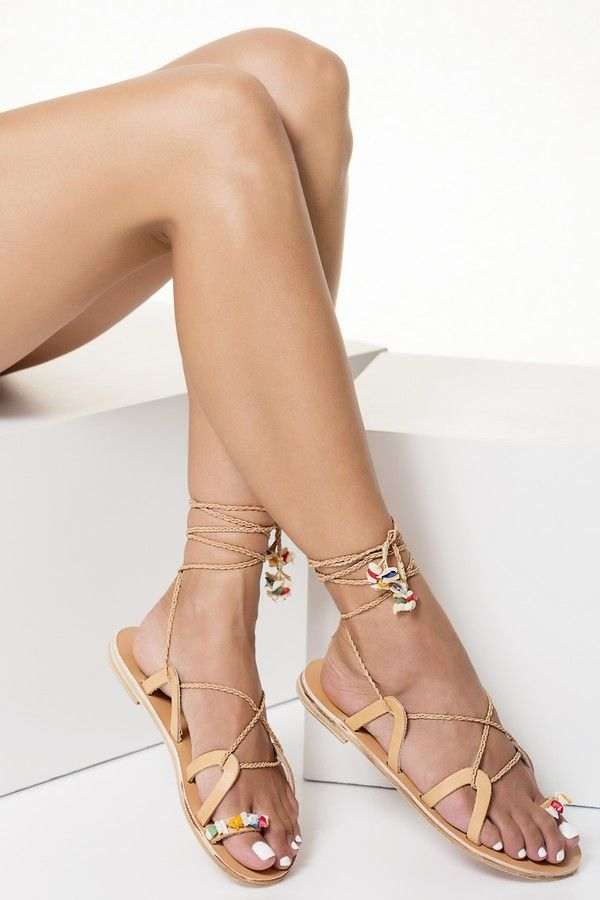 Lace up sandals with braided straps, Electra