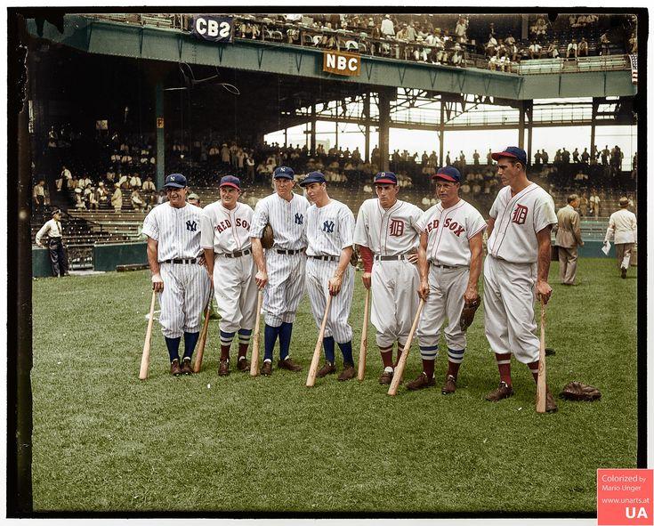 Left to right Lou Gehrig Joe Cronin Bill Dickey Joe DiMaggio Charley Gehringer Jimmie Foxx and Hank Greenberg 7. 7. 1937 (1608x2000)