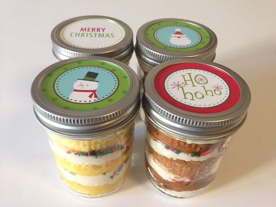 4 (8oz) Cupcakes In A Jar-Mason Jars-Christmas-Merry Christmas-Christmas Gifts-Snowmen-Ho Ho Ho-Santa Claus-Stocking Stuffer-Teacher Gifts                                                                                                                                                                                 Mehr