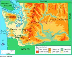 Map Of Elevation Map Pinterest Map School Projects And Washington